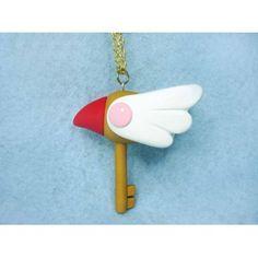 Key CC Sakura,fimo, handmade,hecho a mano,polymer clay,collar,necklace,cadena,chain,llave sakura,card captor,cetro,anime,manga,clamp,