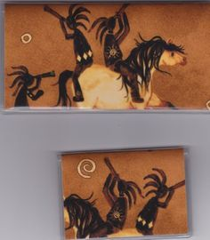 "Lucky Kokopelli and Horse Checkbook Cover Set by Tickled Pink Boutique. $9.50. Fun and functional for every day use without paying a designer price for a designer name!  The sturdy clear PLASTIC 12 gauge lightweight VINYL COVER encases a fabric bonded design. Measuring 6 1/4"" x 3 1/4"",  the checkbook cover fits all standard bank checkbooks and banking registers.  All checkbook covers come with a register flap and a duplicate check flap just like the bank.    The drivers lic..."