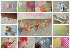 Pinwheel Garland ~ How to Tutorial ~ Good tutorial on how to make pinwheels as well Twin First Birthday, Birthday Fun, 1st Birthday Parties, Birthday Ideas, Diy Arts And Crafts, Fun Crafts, Paper Crafts, Paper Banners, Childrens Party