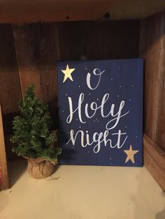 Christmas canvas o holy night all is calm by IrisRainStudios