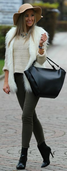 White Faux Fur Vest by Styleandblog.com