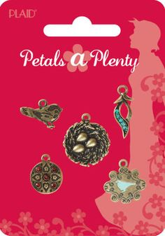 Petals a Plenty™ Small & Mini Charms  Item# bd0791     Be the first to write a review   Soft, sweet and feminine, Petals a Plenty™ from Plaid® offers vintage colors and themes that can be combined to make chunky statement pieces or delicate accessories. Small & Mini Charms include a selection of metal charms, some with gem accents or a pop of enamel color, and will enhance any project.