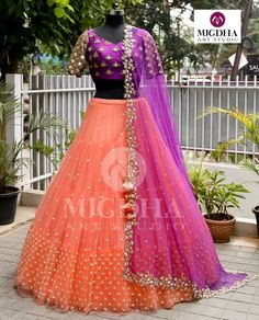Fuchsia violet combined with Plup orange overall golden embroidered on blouse and matchup dupatta beautifully with soft florals get this look only on MugdhaArtStudioFor Order (or) EnquiryWhats app 8142029190 / 9010906544 20 September 2018 Lehenga Saree Design, Half Saree Lehenga, Lehnga Dress, Bridal Lehenga Choli, Indian Lehenga, Lehenga Designs, Lehanga Bridal, Baby Lehenga, Lehenga Dupatta