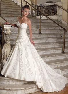 Ball Gown Sweetheart Embroidery Beaded Net Wedding Dress $375.99 Strapless Wedding Dresses
