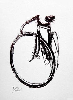 Es ist ein ein Siebdruck auf schönes Papier, basierend auf einer Kohle Zeichnung einer Drysdale Velox Ace Track Bike Edition 20 die Drucke sind