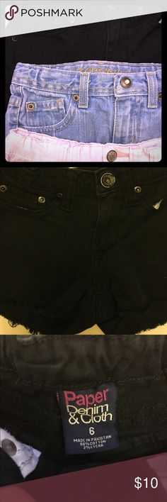 Hard to find designer denim girls size 6 Lot includes 2 pairs of shorts and bonus free pair. 1 pair of Paper Denim and Cloth children's size 6 (girls) and 1 pair of Lulu Luv girl's size 6. Bonus pair is Arizona jean shorts. All three are used; free of stains and rips, but well-loved. Paper Denim and Cloth Bottoms Shorts