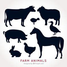 Пакет сельскохозяйственных животных силуэты