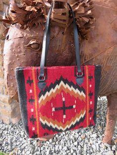 Southwestern Handwoven wool Zapotec Rug Bag in rich colors faux leather strap handle Coastal Wreath, Saddle Blanket, Leather Handle, Wool Rug, Hand Weaving, Rich Colors, Shoulder Bag, Purses, Bags