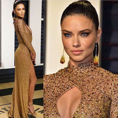 Adriana Lima wears Labourjoisie golden embellished floor length gown at the 2017 Vanity Fair Oscar Party. #glamorous #bestdressed #oscars #academyawards #oscarawards #celebrity #celebritystyle #fabfashionfix #vanityfair #afterparty #adrianalima