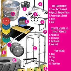Garage Gym Wishlist (got the bar, bumper plates, squat rack and pull up bar) ... need to work on the fun items list! :) Definetely would love the tire!