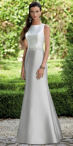 Elegant Satin Bateau Neckline Full length Mermaid Bridesmaid Dresses With Lace Appliques & Hot Fix Rhinestones