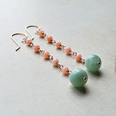 Long Pink Mint Dangle Amazonite Fringe Earrings Pink Coral