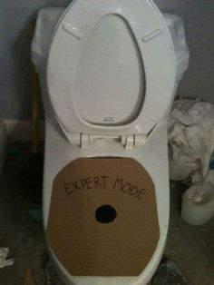 Ha! Maybe if I make it a game I won't have to wipe the pee of the toilet anymore! Grrr!