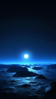 Blue night at sea