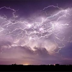 Lightning from a supercell thunderstorm in Central City, Nebraska