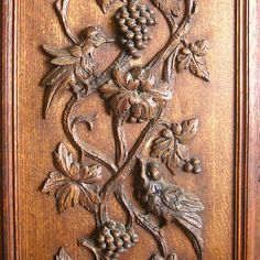 Antique French Hand Carved Wooden Panel, Door, Birds, Grapevine, Grapes