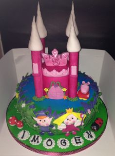 Birthday cake for a little girl who loves ben and hollys little kingdom and peppa pig
