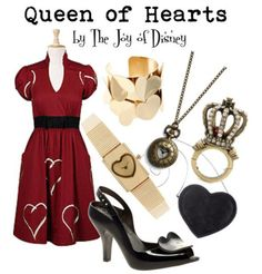 The Joy of Disney: Queen of Hearts -- Alice in Wonderland Alice In Wonderland Outfit, Wonderland Costumes, Wonderland Party, Disney Inspired Fashion, Disney Fashion, Film Fashion, Queen Of Hearts Alice, Disney Bound Outfits, Princess Outfits
