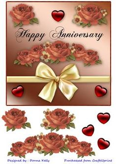 anniversary card front 7x7 on Craftsuprint designed by Donna Kelly - Beautifully decorated with bow, and flowers, quick and easy to assemble, approximately 7x7 - Now available for download!