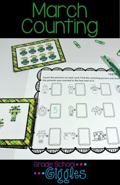 Young students need a lot of practice counting to develop 1:1 correspondence and to count higher numbers with accuracy. This math center is perfect for independent counting practice. The March theme is perfect for brining in some St. Patrick's Day fun.   Students count the pictures on each task card and record their answers on the recording sheet.