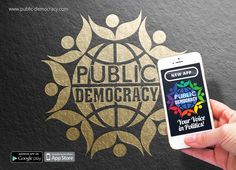 This is the logo for the exciting new Public-Democracy App for smart devices that connects politicians and people for improved policy outcomes and a better democracy.