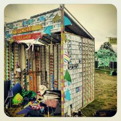 "At the Shambala festival, ""Upcycle"" operate from shacks created from used Tetra…"