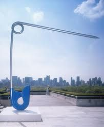 "Claes Oldenburg & Coosje Van Bruggen -""Corridor Pin, Blue,"" 1999. Stainless steel and aluminum painted with polyurethane enamel, edition 3/3; 21 ft. 3 in. x 21 ft. 2 in. x 1 ft. 4 in. (647.7 x 645.2 x 40.6 cm)"