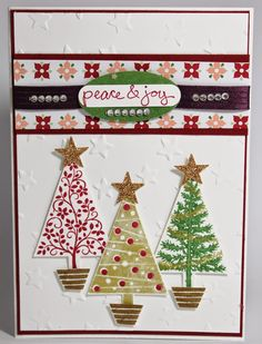 Stampin' Sarah!: A festive trio of trees Christmas card using Festival of Trees from Stampin' Up! All available from www.stampinsarah.stampinup.net