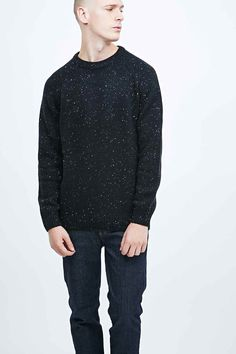Shop Carhartt Anglistic Knit Jumper in Black at Urban Outfitters today. Jumper, Men Sweater, Carhartt, Knitted Fabric, Work Wear, Urban Outfitters, Winter Fashion, Knitting, Model