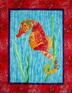 I designed this pattern in 2013. This pattern includes instructions to make the Seahorse wall hanging shown, measuring 28 x 35. The technique used