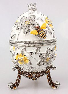 Big Faberge egg with bee jewerly trinket box Russian craft metal ring box bejeweled bling jewelry collectibles x'mas gifts(China (Mainland)) Metal Jewelry, Metal Ring, Bling Jewelry, Jewelry Box, Avatar, Egg Rings, Faberge Eier, Ornament Storage, Egg Art