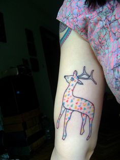 Pretty deer tattoo - Tatuaje ciervo