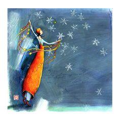 "Gaelle Boissonnard, ""Snowflakes and stars"". Art And Illustration, Art Fantaisiste, Art Mignon, Art Carte, Pretty Drawings, Doodle Sketch, Art Moderne, Whimsical Art, Watercolor Print"