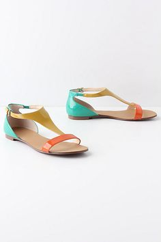 candy colored t strap shoes