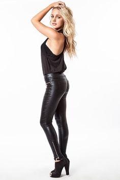 Umgee Black Shiny Faux Leather Leggings with Zipper Details S M L  #umgee #Leggings