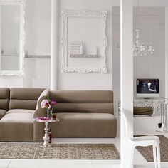 White frames on white walls - taupe, pink, white