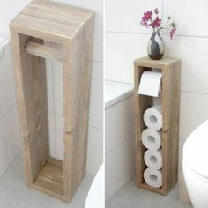 diy bathroom decor 45 DIY Toilet Paper Holder and Storage Ideas Diy Toilet Paper Holder, Toilet Paper Storage, Over Toilet Storage, Small Bathroom Storage, Small Bathroom Ideas, Small Storage, Bath Ideas, Bathroom Hacks, Bathroom Makeovers