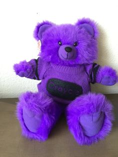 Crayola Purple Plush Bear Stuffed Toy Animal Plushie Vintage 1986 Cuddly Bear by RetroResaleSanDiego on Etsy Vintage Toys, Etsy Vintage, Crayon Ideas, Right In The Childhood, It's All Happening, Bear Wallpaper, 80s Kids, All Things Purple, Stuffed Toy
