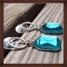 Azure Jeweled Drop Earrings; Nwt