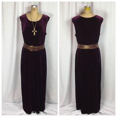 Vintage 90's Goth Grunge Deep Purple Stretch Velvet Witchy Maxi Dress. PLUS 18W    eBay