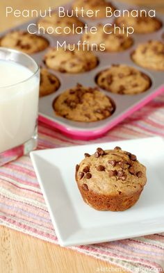 Peanut Butter Banana Chocolate Chip Muffins from www.a-kitchen-addiction.com