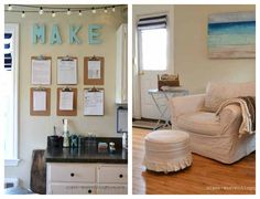 This craft room is decorated so gorgeous! Seriously in love!
