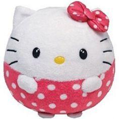 Hello Kitty Beanie Ballz with Pink Polka Dots 5 inch Plush Sanrio Hello Kitty, Peluche Hello Kitty, Hello Kitty Plush, Fat Kitty, Ty Beanie Ballz, New Beanie Boos, Pet Toys, Kids Toys, Toddler Toys