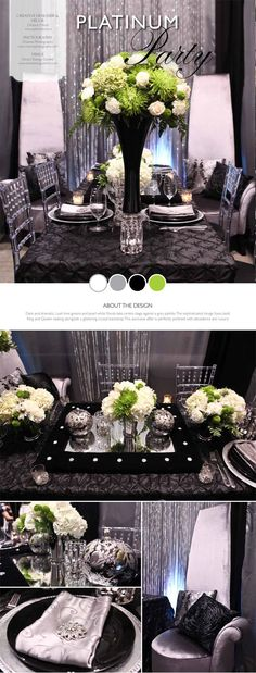Elegant Tablescape Using Tall Black Vase With Green And White Fl Arrangement Silver Mint Julep