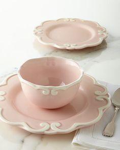 12-Piece Arabesque Dinnerware Service, Pink  - Handcrafted 12-piece Arabesque dinnerware service in pink. [ad]