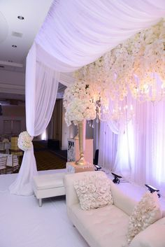 """Krishna and Heren's romantic """"Snow White"""" wedding reception with cascading orchids, white roses and hydrangeas and metallic accents 