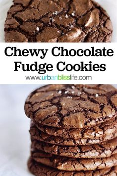 Chewy Chocolate Fudge Cookies - These Chewy Chocolate Fudge Cookies are so ooey gooey chewy in the center and rich with an almost fu - Fudge Cookie Recipe, Chocolate Fudge Cookies, Fudge Cake, Cookie Recipes, Dessert Recipes, Desserts, Fun Baking Recipes, Wine Recipes, Baking Ideas