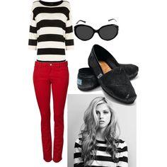 red skinny w/black stripes