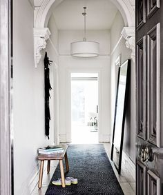 See how interior designer Sally Caroline Klopper created a hotel style look for a double-fronted Melbourne terrace. hotel Gallery - Vivienne and Max's Luxe Hotel-Inspired Home Modern Victorian, Victorian Homes, Victorian House Interiors, Victorian Terrace House, Melbourne, Interior And Exterior, Interior Design, Entry Hallway, House Entrance