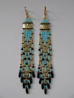 Seed Bead Native American Style Earrings Ocean Wave by pattimacs